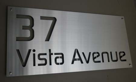 Modern stainless steel house sign