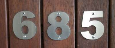 60mm high marine grade numbers with fixing holes