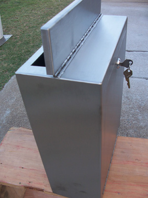 Stainless steel fence letterbox