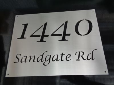 Laser-cut marine grade s/s house sign